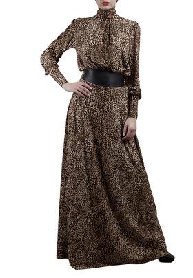 """Платье с кожаной вставкой на поясе """"ПАРТ"""""""