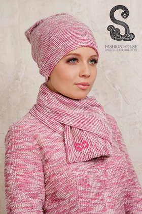 Шарф двойной шерсть/розовый
